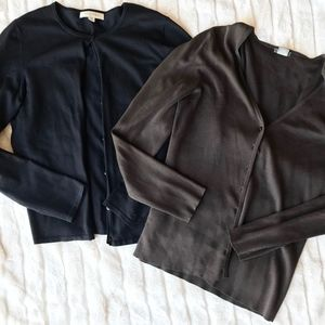 Ann Taylor Cardigan Lot 2 work sweater black brown